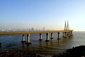 Bandra–Worli Sea Link, cable-stayed bridge on water at distant city, india, mumbai
