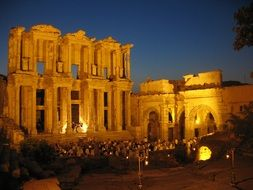 Library of Celsus, ancient roman ruin, at night, turkey, ephesus