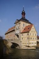 old timber framed town hall building at bridge, germany, bamberg