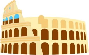 facade of colosseum, colorful illustration