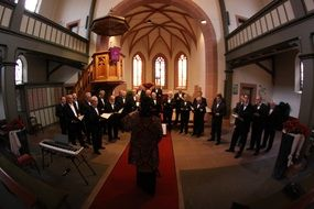 choral singing in church, germany