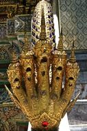 golden dragon with five heads in Wat Phra Kaew, Jade Buddha Temple, Thailand, Bangkok
