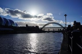 tyne bridge silhouette at back light, uk, newcastle