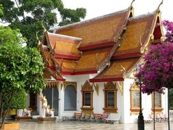 small closed buddhist temple, thailand