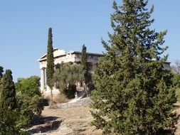 ancient ruin behind trees, greece, athens, thision
