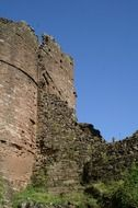 ruined wall of medieval goodrich castle, uk, england, herefordshire