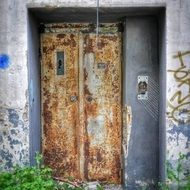 closed elevator in abandoned building