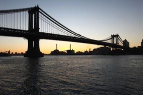 manhattan bridge above east riverat dusk, usa, nyc, brooklyn