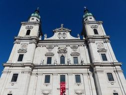 beautiful facade of cathedral at sky, austria, salzburg