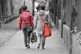 two woman with bags walking on street, back view