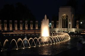 washington ,beautiful memorial fountain in honor of the war, world war ii memorial