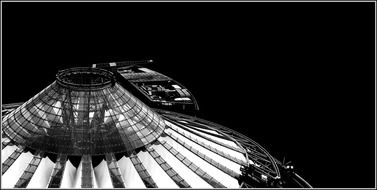 dome Sony Center at Potsdamer Platz, black and white, germany, berlin