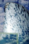 clouds reflection on facade of luxury w hotel, spain, barcelona