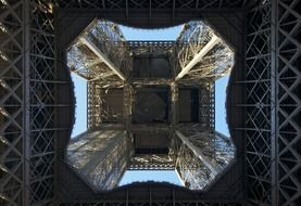 bottom view of eiffel tower, france, paris