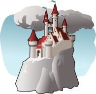fairy tale castle on rock at clouds, colorful illustration