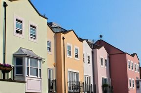 row of colorful houses, uk, england, portsmouth
