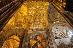 ornate gothic vaults in cathedral, spain, seville