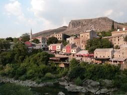 Buildings of the old town at neretva river, UNESCO World Heritage Site, Bosnia and Herzegovina, Mostar,
