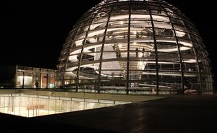 reichstag glass dome at night, germany, berlin