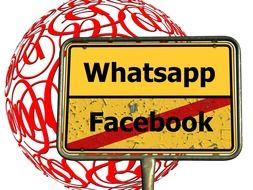 facebook and whatsapp, shield at e-mail signs on sphere