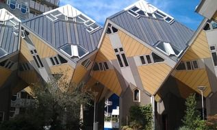 Kubuswoningen, cube houses in row, netherlands, rotterdam