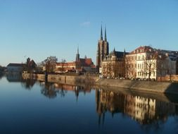 panorama of old city at river, poland, wroclaw