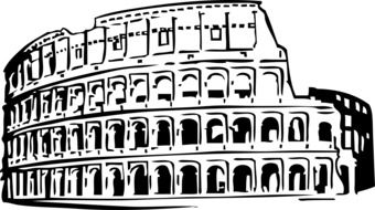 facade of roman colosseum, black outline