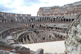 interior of colosseum, stage, italy, rome