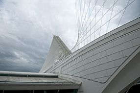 futuristic roof of milwaukee art museum at clouds, fragment, usa, Wisconsin