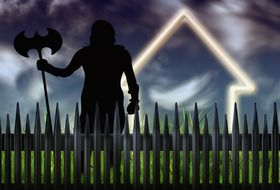 silhouette of medieval warrior behind fence, illustration