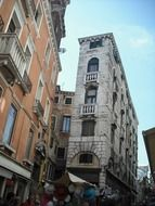 old grunge narrow building, italy, venice