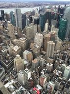 aerial view of downtown, usa, manhattan, new york city