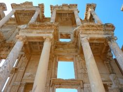 celsus library, ancient ruin, low angle view, turkey, ephesus