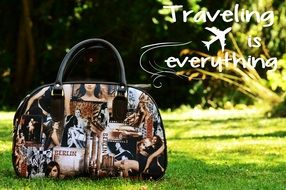 travel bag on the background of beautiful nature