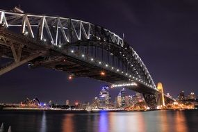 harbor bridge at scenic night cityscape, australia, sydney