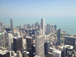 top view of willis tower in cityscape, usa, illinois, chicago