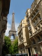 eiffel tower among old buildings, france, paris