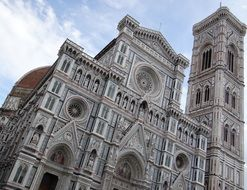 Cattedrale di Santa Maria del Fiore, fragment of facade at sky, italy, tuscany, florence