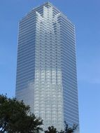 high rise office building with glass facade at sky, usa, texas, dallas