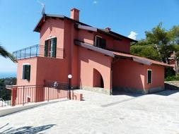 View of the pink villa