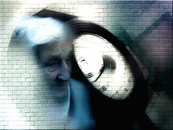 old woman and clock face at brick wall, collage