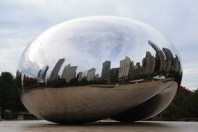 curved skyline of city, reflection on bean, usa, illinois, chicago