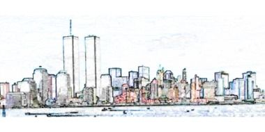 new york cityscape with twin towers, digital art