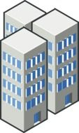 three abstract high rise buildings, illustration