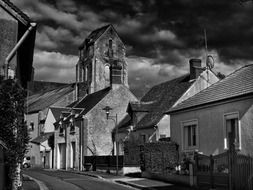 old town at cloudy day, france, saint-laurent-nouan