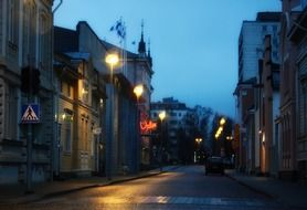 street in old town at night, finland, oulu