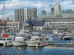 boats in port at city, australia, melbourne