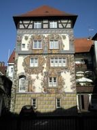 old half timber framed building with beautiful painted facade, germany, constance