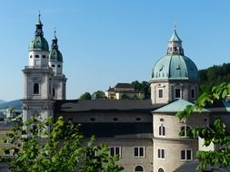 Towers of the cathedral in Salzburg