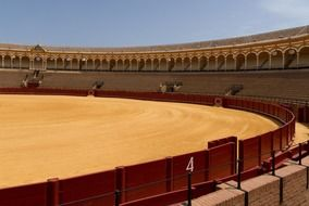 interior of Plaza de los toros, bullfight arena, spain, seville